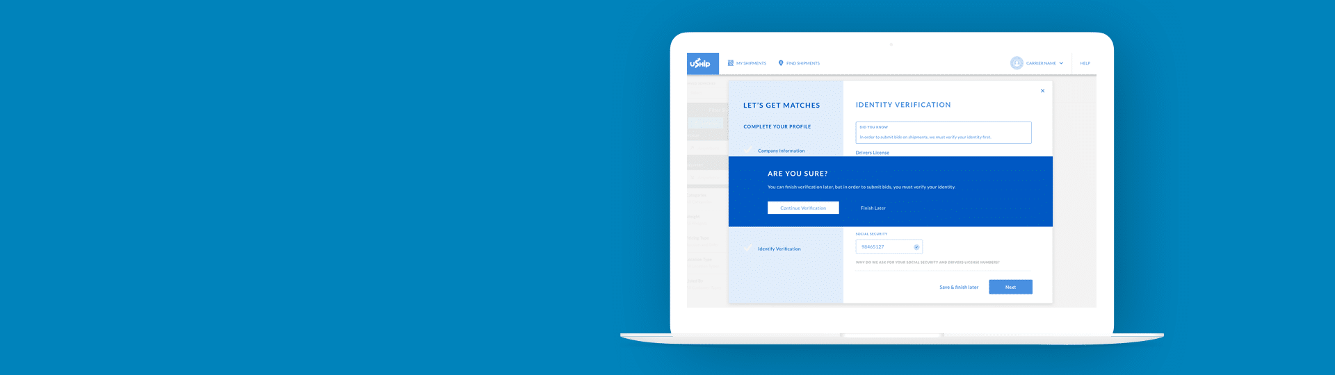 uShip On-boarding Redesign